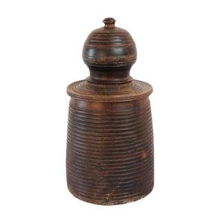 Vintage Nepal Wood Storage Pot For Sale