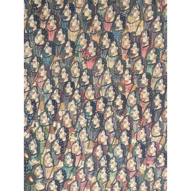 """Late 19th Century 19th C. East Indian """"Pichwai"""" Painted Textile of Krishna For Sale - Image 5 of 11"""