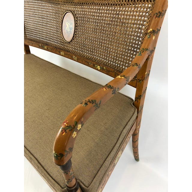 Brown Venetian Style Caned and Hand Painted Loveseat Settee For Sale - Image 8 of 13
