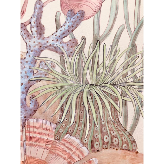 Contemporary Coral Reef Acrylic Triptych Painting by Allison Cosmos - Set of 3 For Sale In Los Angeles - Image 6 of 11