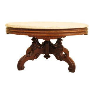 1990s Victorian Style Walnut Oval Marble Top Coffee Table