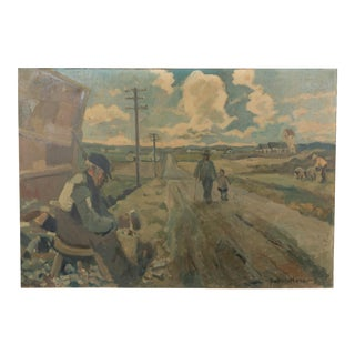 Early 20th-C. Large Rural Road Landscape For Sale