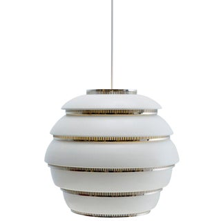 Scandinavian Modern Alvar Aalto for Artek A331 'Beehive' White and Chrome Pendant Light For Sale