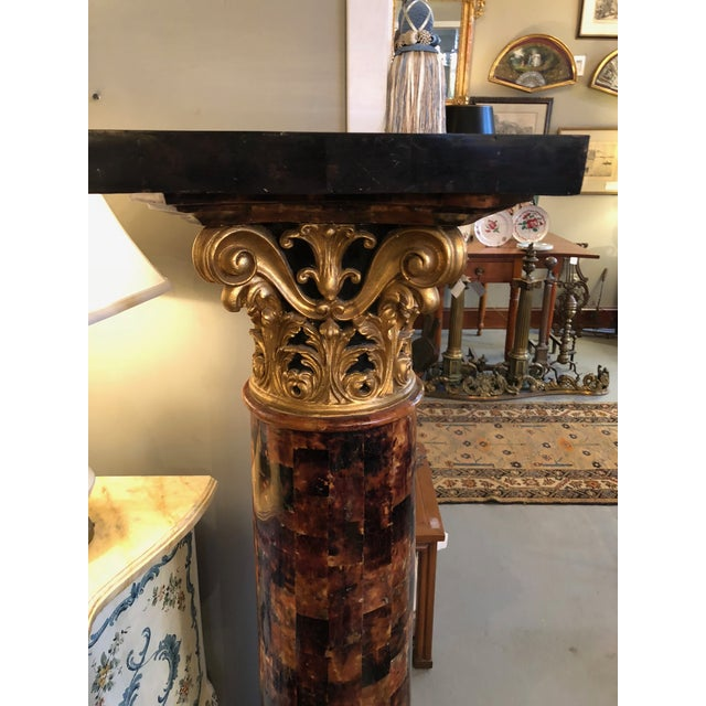 1900s Louis XV Gilt Corinthian and Verified Tortoise Shell Pedestals - a Pair For Sale In Minneapolis - Image 6 of 11