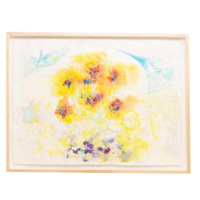 Large Framed Abstract Watercolor Painting For Sale