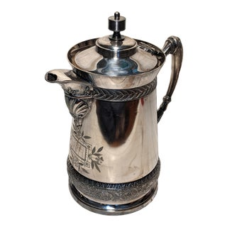 Late 19th Century Rogers Smith Co Meriden Ct Victorian Era Silver Plate Insulated Tea Pitcher For Sale