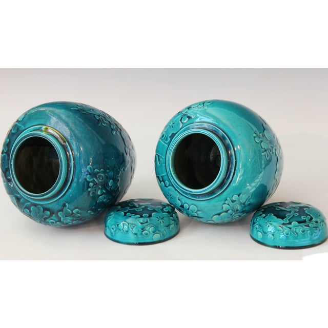 Pair of Turquoise Awaji Pottery Ginger Jars, Covers Applied and Incised Prunus For Sale - Image 4 of 9