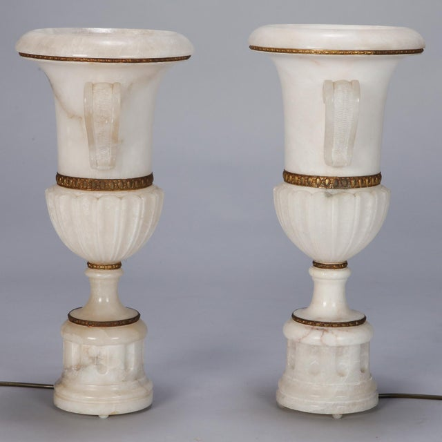 Pair Tall Urn Form Alabaster and Bronze Lamps For Sale - Image 10 of 11