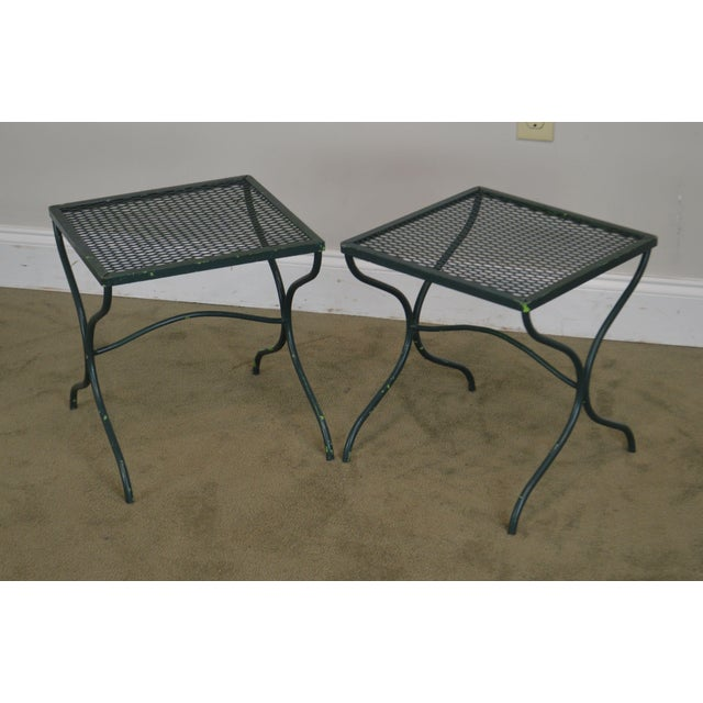 High Quality Vintage Green Painted Metal Side Tables by Salterini (Not Labeled)