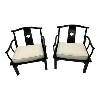 Black Lacquered Asian Ming Style Chairs - a Pair For Sale