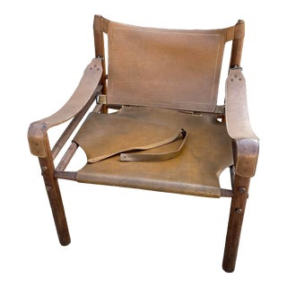 1960s Arne Norell Sirrocco Rosewood Leather Safari Campaign Chair For Sale