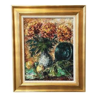 Swedish Antique Oil Painting Flowers in Vase