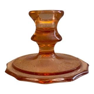 1950s Depression Glass Orange Candlestick Holder For Sale