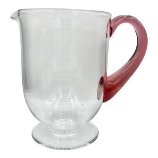 1930s Art Deco Morgantown Blown Glass Pitcher with Rose Pink Handle For Sale