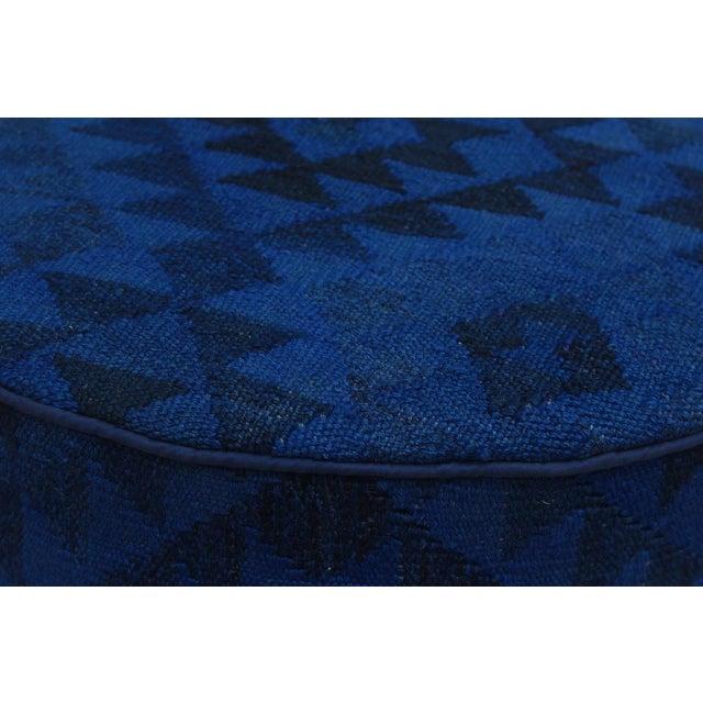 2010s Arshs Deandre Blue/Drk. Blue Kilim Upholstered Handmade Ottoman For Sale - Image 5 of 8