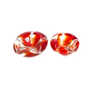 Vintage Authentic Mid Century Murano Sommerso Art Glass Bowl, Hand Made in Italy - Set of 2 For Sale