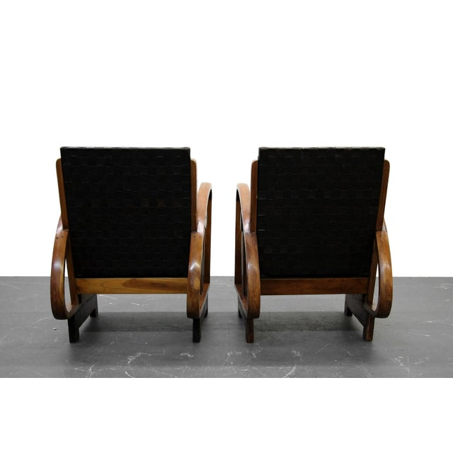 Pair of Antique French Art Deco Bentwood Lounge Chairs with Woven Leather For Sale In Las Vegas - Image 6 of 8