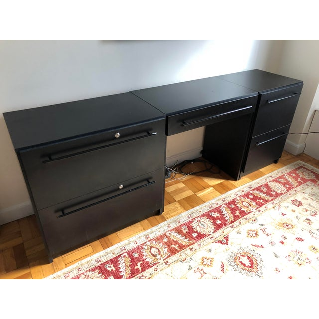Office Modular Filing Cabinet Desk & Chair For Sale In New York - Image 6 of 13