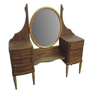 Vanity with Oval Mirror For Sale