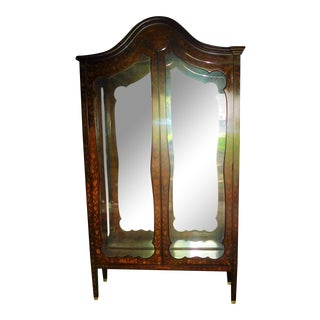 19th C. Dutch Marquetry Inlaid Display Cabinet C. 1840 W/ Glass Shelves For Sale