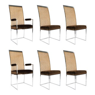 Six High Back Cane Dining Chairs by Milo Baughman for Thayer Coggin For Sale