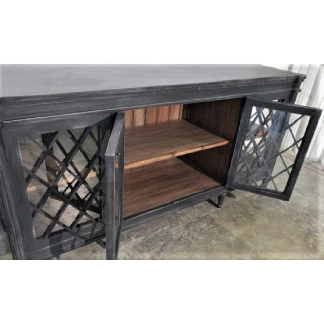 Asian Boho Chic Distressed Black Console with Glass Doors For Sale - Image 3 of 6