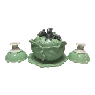 Mid 20th Century Vintage Cabbage Rabbit Bowl & Plate With Art Deco Candle Holders - 4 Piece Set For Sale