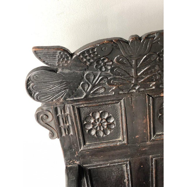 British Carved Oak Great Chair For Sale - Image 4 of 5