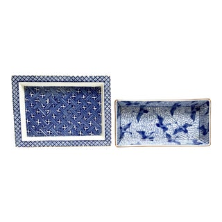 Small blue and white glazed ceramic trays by Fitz and Floyd - Set of 2