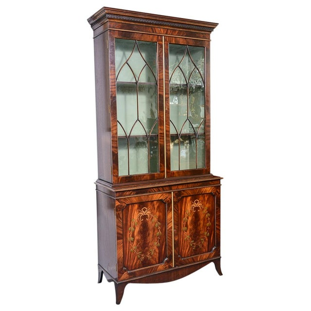 Beautiful Regency Style Pair of Wood Inlaid Cabinets with Blown Glass Doors. Glass are original to the cabinets, no chips....