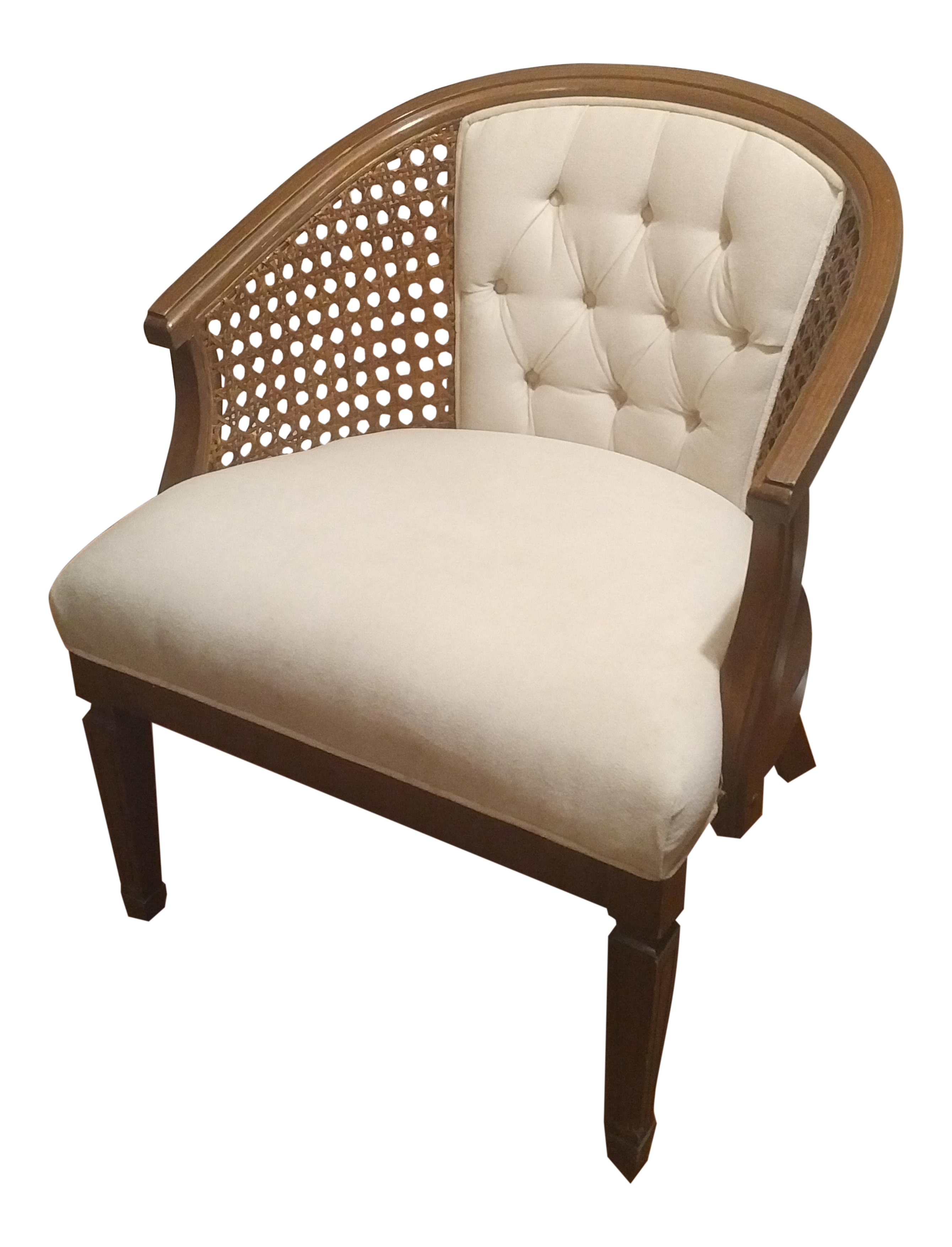 Mid Century Modern White Caned Side Barrel Chair For Sale