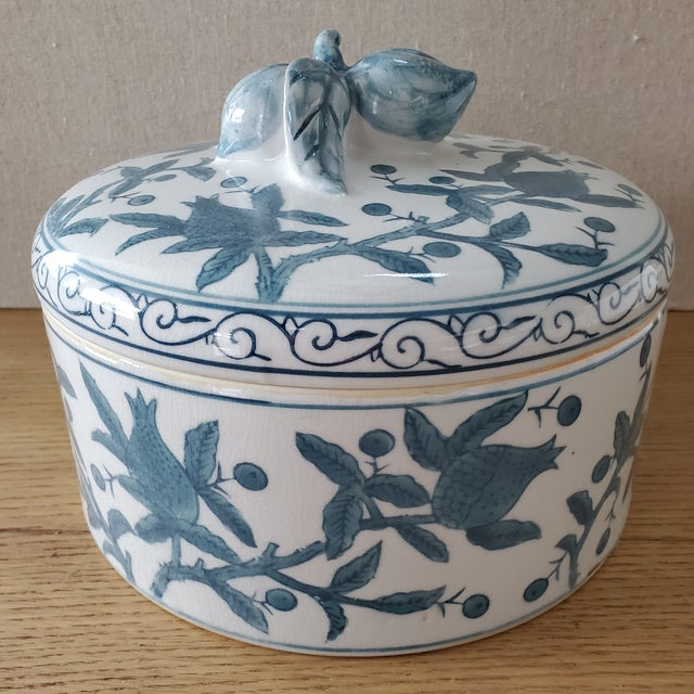 Lidded Chinoiserie Vessel With Fruit Motif For Sale - Image 9 of 9