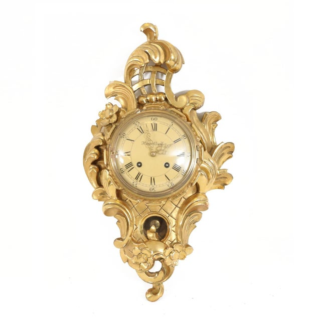 1900 - 1909 Small Rococo Style Gold Birch Wall Clock For Sale - Image 5 of 5