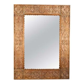 Monumental Vintage Indonesian Lotus Mirror in Hand Carved Teak Wood