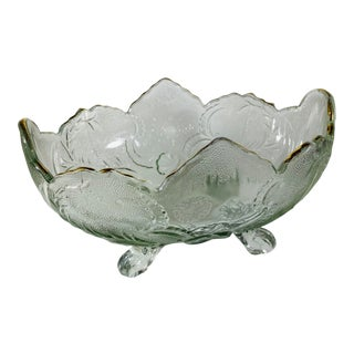 Vintage Pale Green Carnival Glass Pressed Glass Footed Fruit Bowl For Sale
