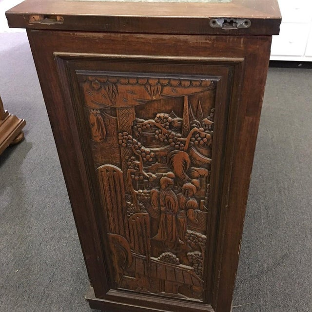 Asian Teak Marble Top Fold Out Bar For Sale In Charleston - Image 6 of 11