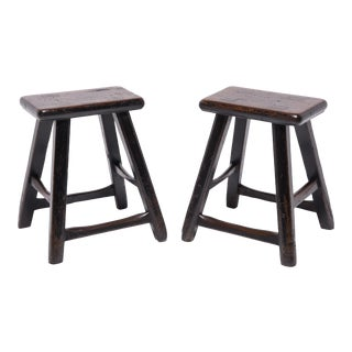 19th Century Chinese Four Leg Stools - a Pair For Sale