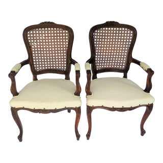 Vintage Louis XV Cane Back Chairs - a Pair For Sale