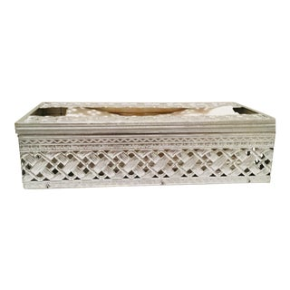 Mid Century Modern Silver Metal Basket Weave Tissue Box For Sale