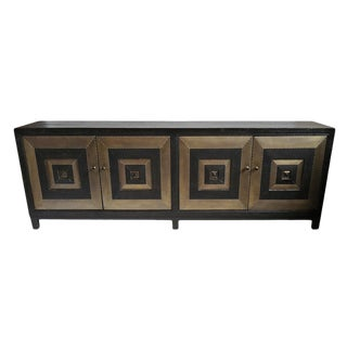 Modern Brass Square Sideboard For Sale