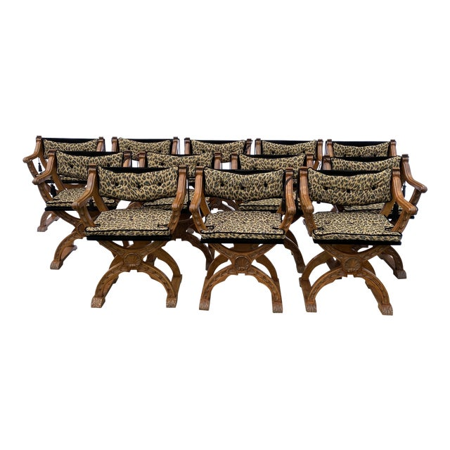 Italian Carved Curule Dining Chairs - Set/12 For Sale