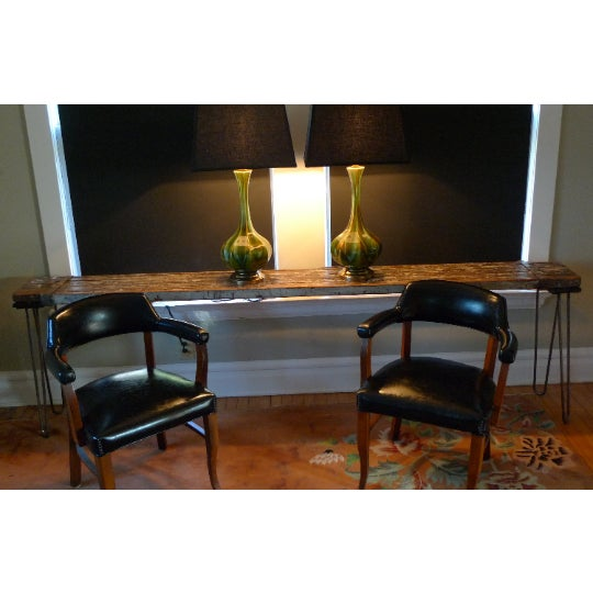 Sofa Table, Console, Entryway Table From Industrial Painter's Scaffold on Steel Hairpin Legs For Sale - Image 4 of 11