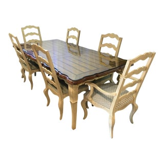 Century French Country Glass Top Dining Room Table & 6 Chairs For Sale