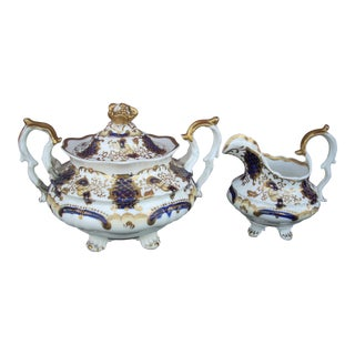 Early 19th Century Antique Gaudy Welsh Sugar & Creamer For Sale