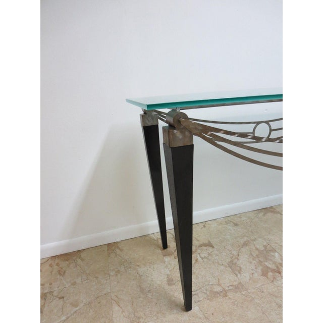 Glass Neo Classical Metal Draped Federal Sofa Hall Foyer Table Server Console For Sale - Image 7 of 11