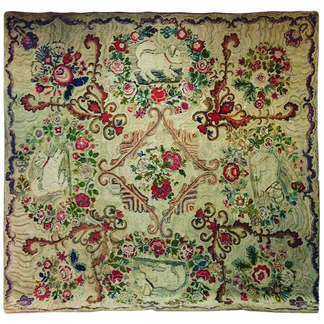 Hooked Rug Room Size With King Charles Spaniels Playing Circa 1860 For Sale