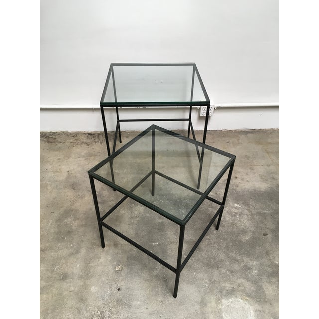 Black 1950s Mid Century Modern Black Iron Frame & Glass Top Nesting Tables - 2 Pieces For Sale - Image 8 of 13