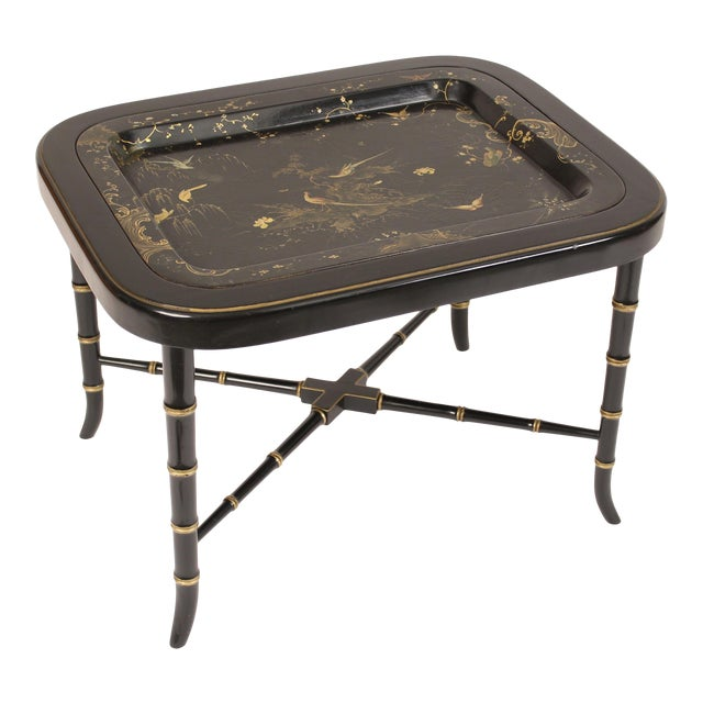 English Regency Style Paper Mache Tray Table For Sale
