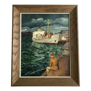 Mid Century Fishing Boat Painting For Sale
