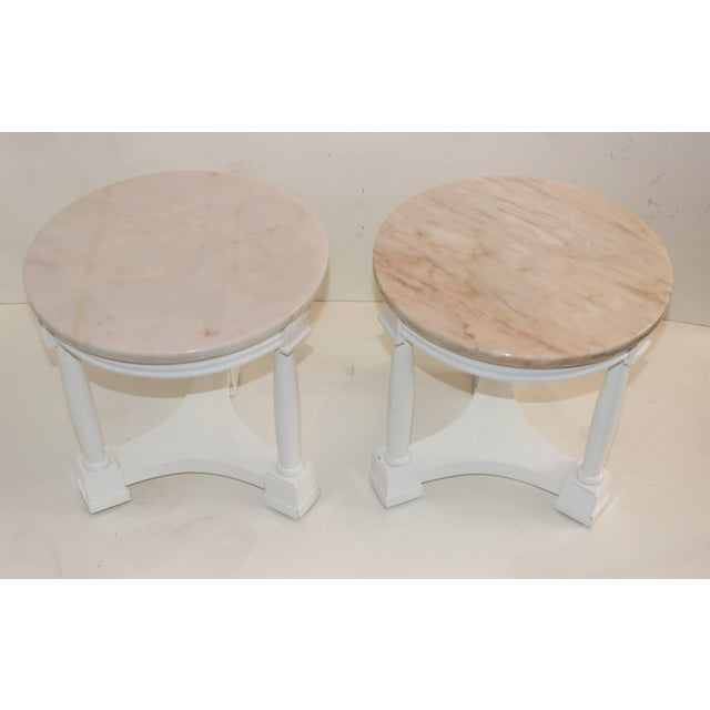 1940s Hollywood Regency Side Tables in White Lacquer With Pink Marble: Tops 1940s - a Pair For Sale - Image 5 of 12